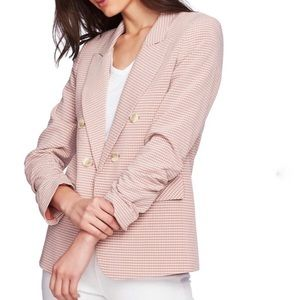 1. State Peach Gingham Check Rouched Sleeve Blazer